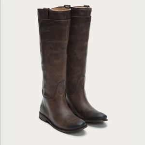 Frye Dark Brown Paige Tall Riding Boots